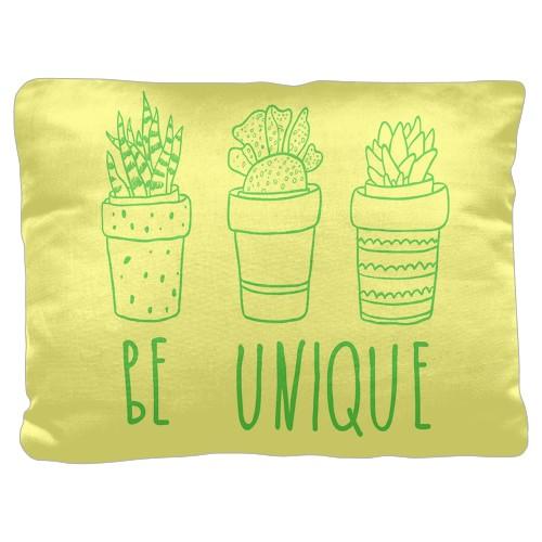 Be Unique Pillow, Cotton Weave, Pillow, 18 x 24, Double-sided, White