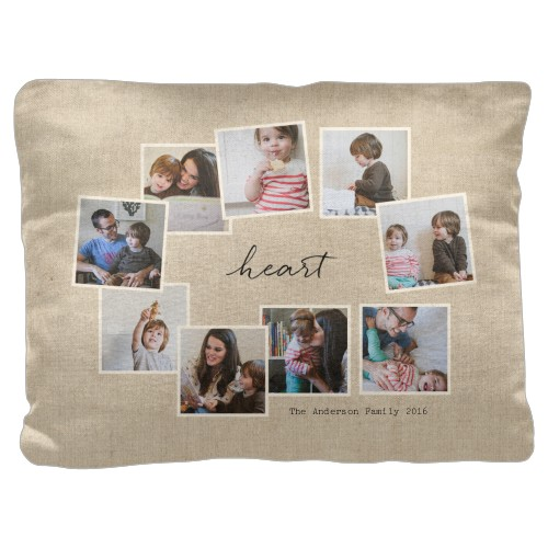 Heart Burlap Tilty Pillow, Cotton Weave, Pillow, 18 x 24, Double-sided, Beige