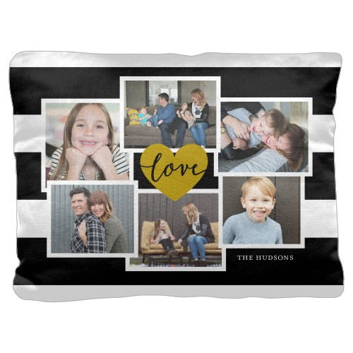 Love Stripes Pillow, Cotton Weave, Pillow (Black), 18 x 24, Single-sided, Black