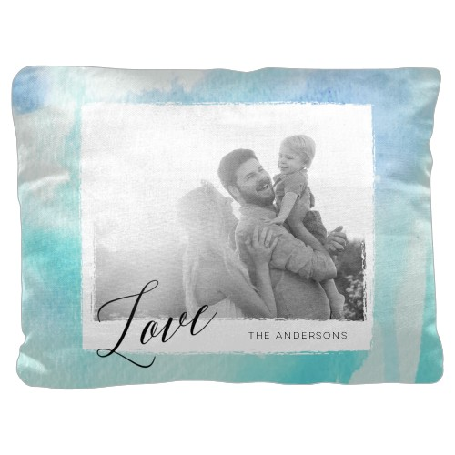 Blue Watercolor Pillow, Cotton Weave, Pillow (Ivory), 18 x 24, Single-sided, Blue