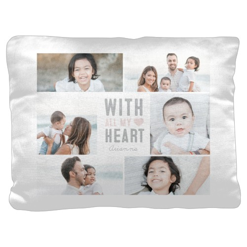 All My Heart Pillow, Cotton Weave, Pillow (Ivory), 18 x 24, Single-sided, Beige