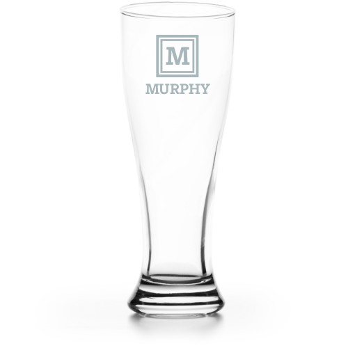 Keyline Monogram Pilsner Glass, Glass, Pilsner Glass Single Side, Clear Glass, White