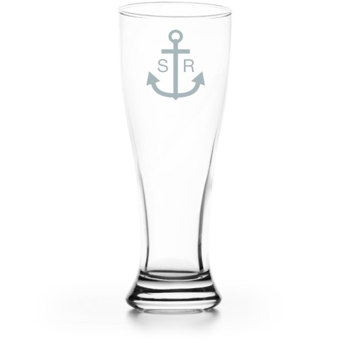 Anchors Away Pilsner Glass, Glass, Pilsner Glass Double Side, Clear Glass, White