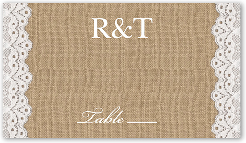 Burlap And Lace Wedding Place Card
