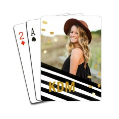 Black White Paint Speckles Playing Cards