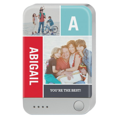 Color Block Memories Portable Charger, Portable Charger, Grey