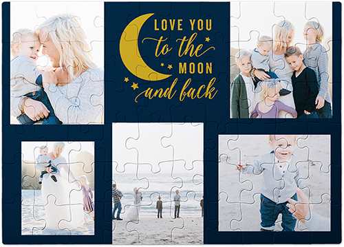 To The Moon Script Puzzle, 60 pieces, Blue