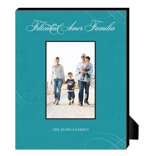Felicidad Amor Familia Personalized Frame, - No photo insert, 8 x 10 Personalized Frame, Blue