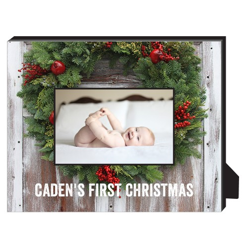 Christmas Wreath Personalized Frame, - Photo insert, 8 x 10 Personalized Frame, Multicolor