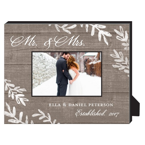 Rustic Wood Foliage Personalized Frame, - No photo insert, 8 x 10 Personalized Frame, Brown