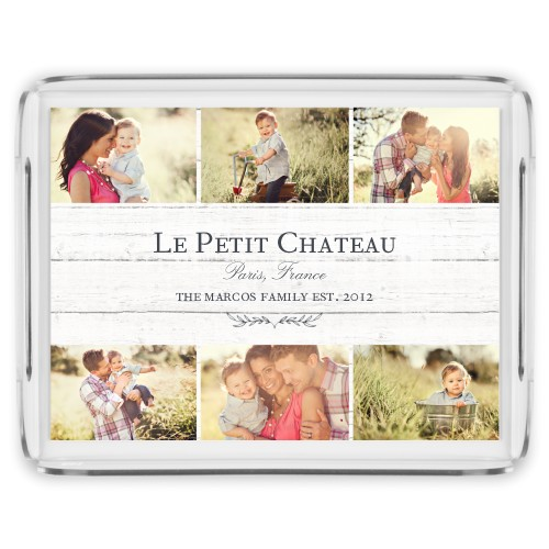 Photo Collage Serving Tray, 17x13 Inches, Beige