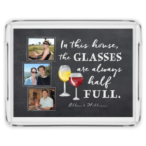 Chalkboard Wine Serving Tray, 17x13 Inches, Grey