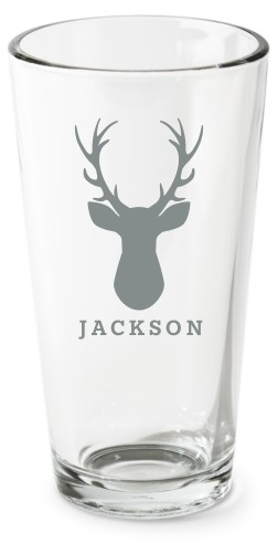 Deer Silhouette Pint Glass, Set of 1, White