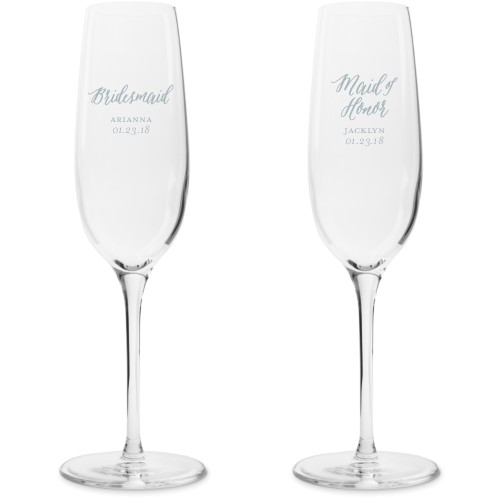 Bridal Party Champagne Flutes, Set of 2, White