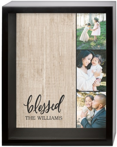Blessed Collage Shadow Box, Black, 11 x 14 inches, Brown