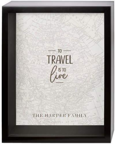 Vintage Travel Quote Shadow Box, Black, 11 x 14 inches, Grey