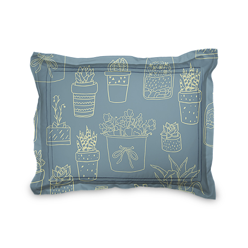 Blue and Green Succulents Sham, Sham, Sham w/ Taupe Ticking Stripe Back, Standard, Multicolor