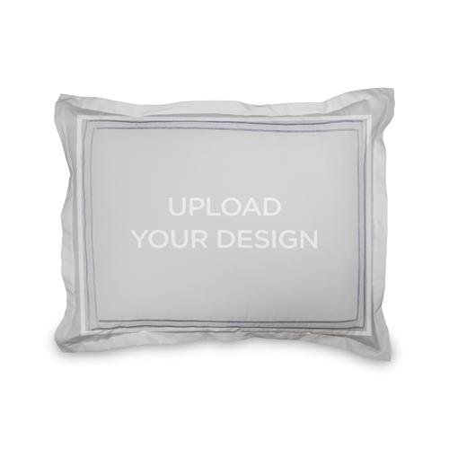 Upload Your Own Design Sham, Sham, Sham w/ Grey Damask Back, Standard, Multicolor