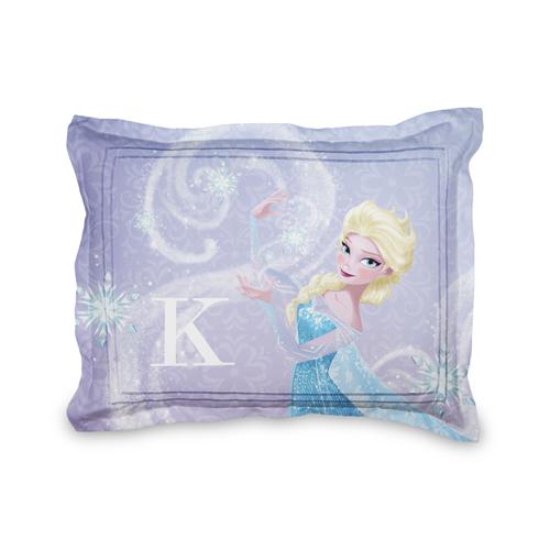 Disney Frozen Elsa Sham, Sham, Sham w/ Taupe Ticking Stripe Back, Standard, Purple