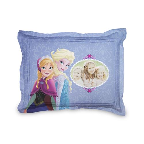 Disney Frozen Anna And Elsa Sham, Sham, Sham w/ Grey Damask Back, Standard, Purple