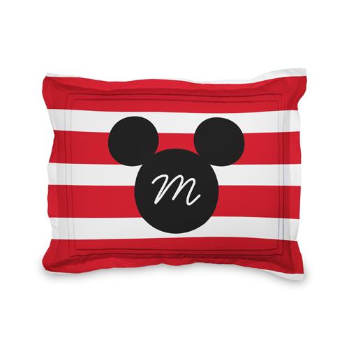 Disney Mickey Mouse Stripe Sham, Sham, Sham w/ Taupe Ticking Stripe Back, Standard, Red