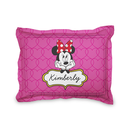 Disney Minnie Mouse Hearts Sham, Sham, Sham w/ Black Lantern Back, Standard, Pink