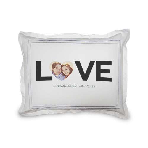 Love Block Sham, Sham, Sham w/ Grey Damask Back, Standard, White