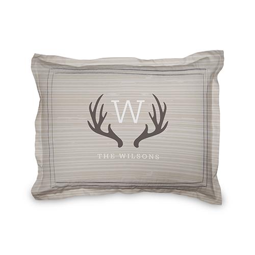 Deer Monogram Sham, Sham, Sham w/ White Back, Standard, Brown