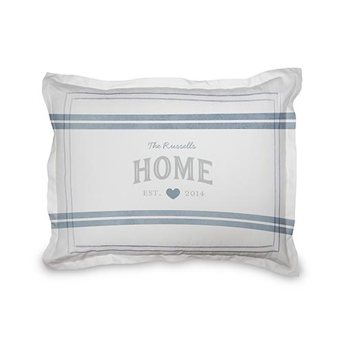 Happy Home Sham, Sham, Sham w/ Grey Damask Back, Standard, Grey