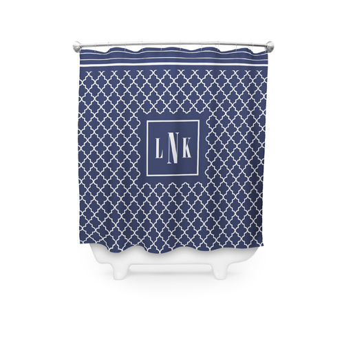 Lantern Border Monogram Shower Curtain, DynamicColor