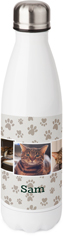 rustic paw prints stainless steel water bottle