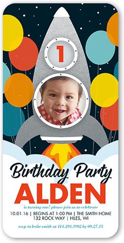 Space Rocket Birthday Invitation, Square Corners
