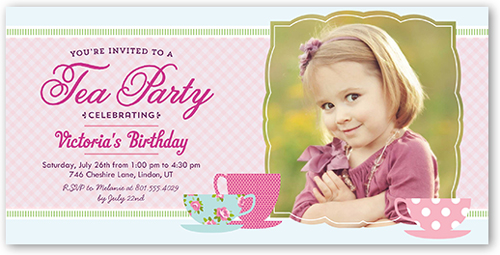 Birthday Invitations: Tea Party Pink