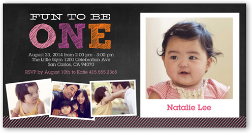 One In Chalk Girl Birthday Invitation by Yours Truly