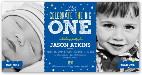 Big Celebration Boy 4x8 Invitation Card – 1 Year Birthday Invitations