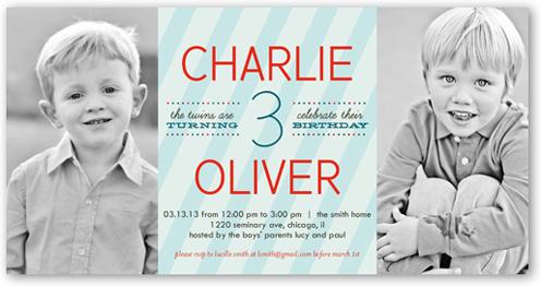 Stripe Boys 4x8 Invitation Twin Birthday Invitations Shutterfly
