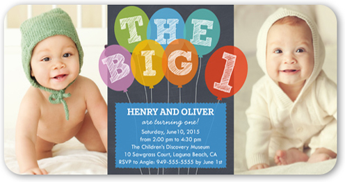 big one balloons 4x8 invitation | twin birthday invitations,