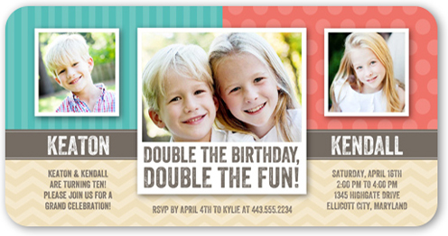 Patterned Pair X Invitation Twin Birthday Invitations Shutterfly - Birthday invitation cards twins