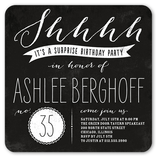 big surprise 5x5 flat party invitation | birthday invitations,