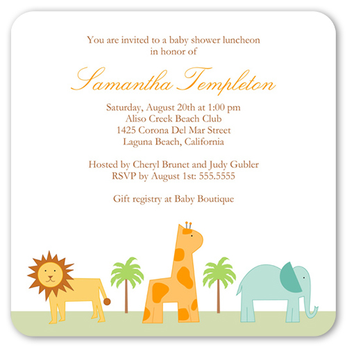 Safari Adventure 5x5 Flat Invitation Baby Shower Invitations