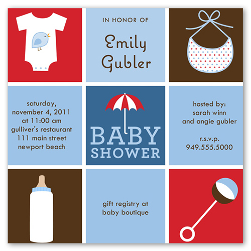 baby things blue 5x5 flat card baby shower invitations shutterfly