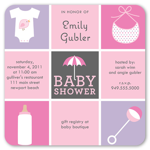 baby things pink greeting card  baby shower invitations  shutterfly, Baby shower invitation