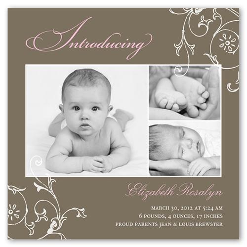 Introducing Flourish Birth Announcement, Square