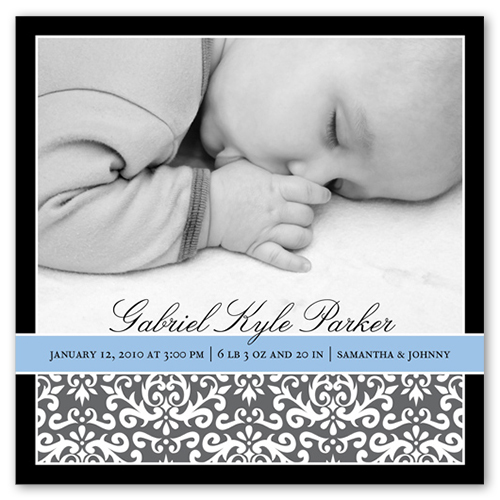 Cornflower Blue Ribbon Birth Announcement
