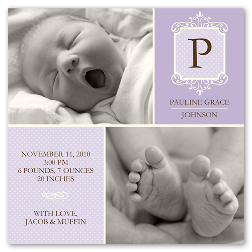 Monogram Dotted Lavender Birth Announcement, Square Corners