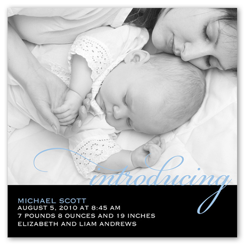 Introducing Script Blue Birth Announcement