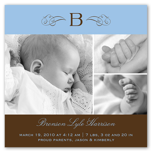 Welcome Monogram Blue Birth Announcement, Square Corners