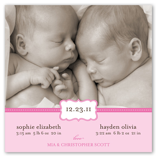 Love Cloud Pink 5x5 Flat Twin Birth Announcement – Birth Announcements Shutterfly