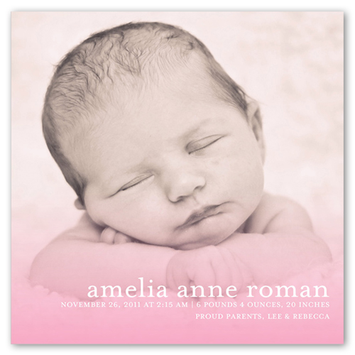 Misty Pink Birth Announcement, Square Corners