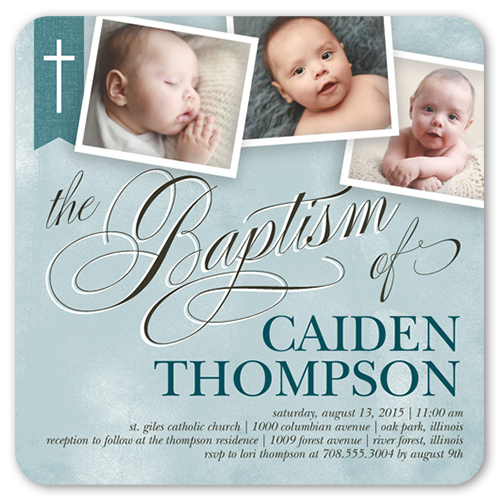 Cross ribbon boy 5x5 flat invitation baptism invitations shutterfly stopboris Gallery